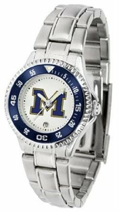 Michigan Wolverines UM NCAA Womens Competitor Steel Band Watch by SunTime. $79.95. Showcase the hottest design in watches today! The functional rotating bezel is color-coordinated to compliment your favorite team logo. The Competitor Steel utilizes an attractive and secure stainless steel band.