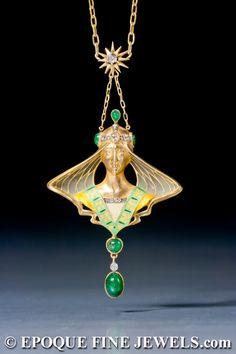FROM THE ESTATE OF ELIZABETH TAYLOR ,A beautiful Art Nouveau gold, enamel, 'plique-à-jour' enamel, emerald and diamond pendant by Lucien Gautrait,