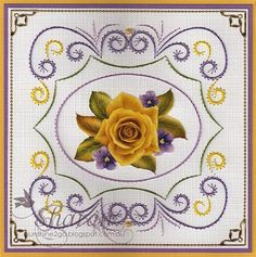 "Free pattern by Ann's Paper Art, the yellow rose from the 3D Card Embroidery Pattern Sheet 2 ""Yellow Roses"""