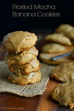Frosted Mocha Banana Cookies #vegan #cookies