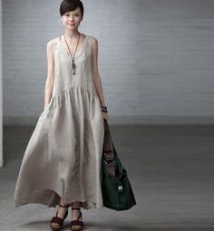 V Neck Maxi Dress - Summer Dress in Rice White- Linen Sundress for Women-Sleeveless Linen Dresses, Cute Dresses, Summer Dresses, Mob Dresses, Bride Dresses, Look Fashion, Womens Fashion, Fashion Design, Maxi Robes