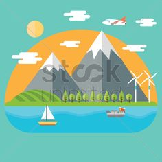 landscape of mountain and sea Stock Vector