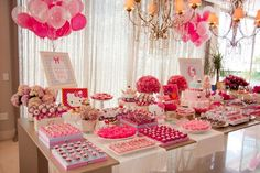 A boudoir bridal shower or bachelorette party is the perfect way to celebrate with your bestie bridesmaids before the big day. Bolo Hello Kitty, Hello Kitty Birthday, Pink Dessert Tables, Pink Desserts, Hello Kitty Baby Shower, Sweet Corner, Catering Display, Shower Inspiration, Cat Party