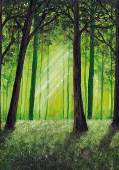Original Acrylic painting Tranquil Forest 5 x 7 by Faerysayles