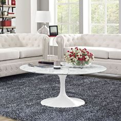 """Tulip 40"""" White Marble Coffee Table"""
