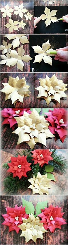 How to Make Lighted Poinsettia Garland Step by Step Tutorial is part of Paper crafts Step By Step - How to Make Lighted Poinsettia Garland Step by Step Tutorial Christmas decor ideas Paper poinsettia flower template and tutorial Paper Flowers Diy, Handmade Flowers, Flower Crafts, Diy Paper, Paper Crafting, Paper Art, Paper Butterflies, Flower Art, Diy Christmas Garland