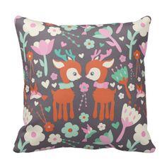 autumn forest pattern throw pillow