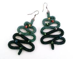 Crochet Tube Christmas Tree Earrings Christmas Jewelry