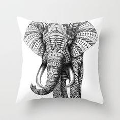 Ornate Elephant Throw Pillow