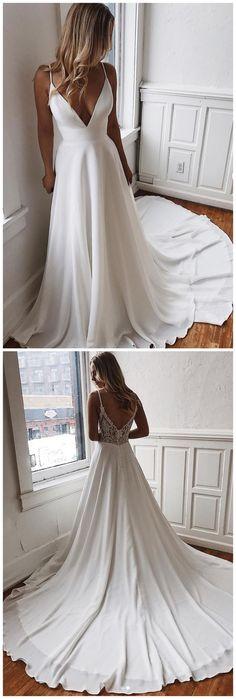 White v neck chiffon long prom dress, white lace evening dre.- White v neck chiffon long prom dress, white lace evening dress - Straps Prom Dresses, Wedding Dresses With Straps, Sexy Wedding Dresses, Wedding Dress Styles, Sexy Dresses, Bridal Dresses, Wedding Gowns, Elegant Dresses, Dream Wedding