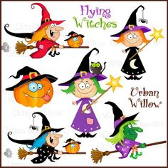 Witches and Warlock. Cute Digital Clipart - Commercial Use OK - Witch Clipart, Goblin graphics, Halloween pumpkin Clipart. Halloween Mono, Casa Halloween, Halloween Rocks, Halloween Painting, Halloween Pictures, Holidays Halloween, Halloween Pumpkins, Happy Halloween, Witch Clipart