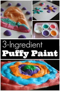 Quick and Easy Homemade Puffy Paint - just just put it in the microwave, and it puffs right up! - Happy Hooligans Quick and Easy Homemade Puffy Paint - just just put it in the microwave, and it puffs right up! Summer Crafts For Kids, Diy For Kids, Spring Crafts, Kids Fun, Home Made Paint For Kids, Busy Kids, Fun Projects For Kids, Project Ideas, Toddler Art