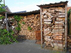 Achterkant houthok afwerken met betongaas Firewood Storage, Home Deco, Shed, Woodworking, Fire Pits, Tub, Crafts, Gardening, Decoration