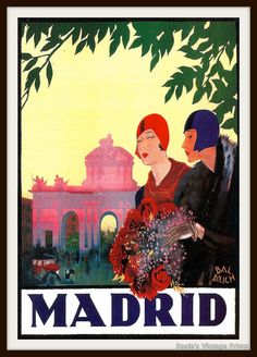 Vintage Travel Poster of Madrid circa 1925 with Flappers - Giclee Re-Print