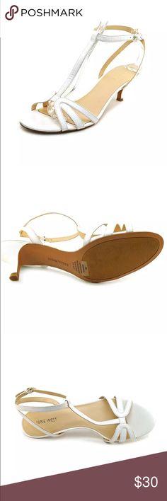 Nine West white leather strappy kitten heels new! Brand new in box, white leather. Nine West Shoes Heels