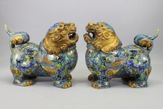 Qing Dynasty Chinese Cloisonne Enameled Foo Dogs