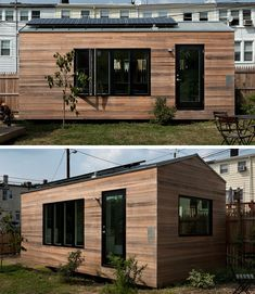 This 210 sqft tiny modern home has everything you need, a kitchen, music studio, living room/dining room, bathroom and bed.