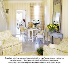 July / August 2013 US House Beautiful Review yellow and white gingham curtains and sofas