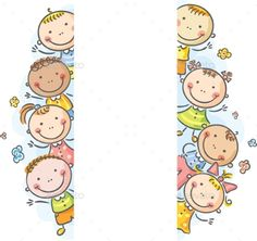 Illustration about Frame/borders with happy kids peeping out. Illustration of colored, figure, people - 44632148