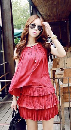 Fashiontroy Street style sleeveless crew neck red solid colored cotton blend top + layered mini skirt set
