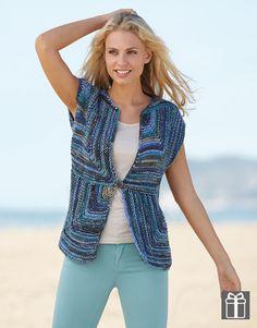 Patrón de punto de @Katia Yarns para tejer una #chaqueta formada por cuadrados con líneas verticales y horizontales #knitting #pattern