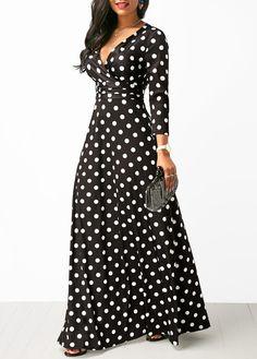 Women Polka Dot Long Sleeve Boho Dress Elegant Vintage Women Dresses Evening Party V Neck Maxi Long Dress Fashion Ladies Dresses Women's A Line Dresses, Cheap Maxi Dresses, Cute Dresses, Casual Dresses, Awesome Dresses, Ladies Dresses, Black Maxi Dresses, Polka Dot Dresses, Dresses Dresses