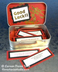 Upcycled Good Luck Box filled with Chinese Fortune Magnets - Be a great gift idea - make sure the magnetic backing is strong enough and this would be great fridge magnets