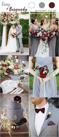 Wedding Trends grey and burgundy wedding color ideas Grey Wedding Theme, Gray Wedding Colors, Wedding Color Schemes, Wedding Themes, Wedding Decorations, Wedding Day, Wedding Dresses, Summer Wedding, Yellow Wedding