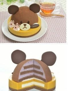Bet you could make this into a Mickey Mouse cake   :)    Cute bear cake