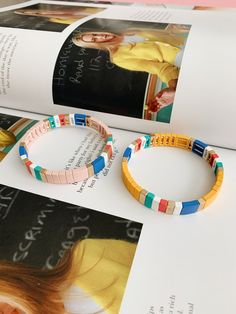 Stacking Block Bracelets | Arm Stack Stretch Bracelets | Color Block Bracelets | Color Block Style | Pastel Bracelets | Colorful Bracelets