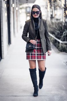 Holiday Outfit Inspo: Plaid Mini Skirt | Houston Fashion Blog, The Styled Fox