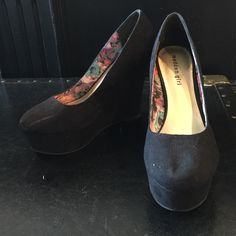 Madden Girl Black Wedges Suede Super cute black suede wedges! Used but still in great condition. Some visible marks as pictured. Madden Girl Shoes Wedges