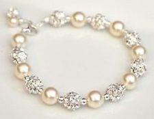 Pearl & Rhinestone accent balls Bracelet Bridesmaid / Bridal Jewelry #prom bracelets
