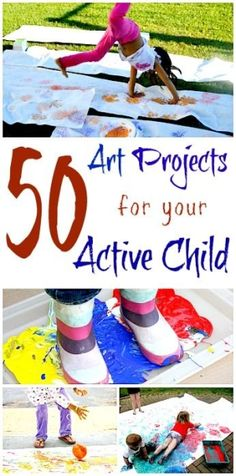 A big collection of art projects for your active child! All the art ideas involve some form of large motor muscles movement. These activities should keep even the most physically active child engaged in an art project! by mvaleria