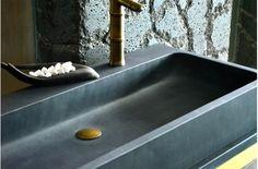 double vasque 100x46 en pierre de basalte noir looan dark - Double Vasque En Pierre