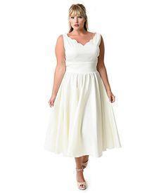 Fashion Bug Plus Size 1950s Style Ivory Cotton Sateen Scallop Brenda Swing Dress www.fashionbug.us #plussize #Retro #FashionBug #Vintage #Rockabilly #PinUp
