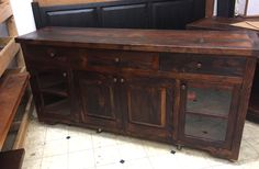 This TV stand or sideboard would coordinate well with any country, farmhouse, rustic, primitive or shabby chic decor. handcrafted of reclaimed barn wood in Lancaster County, PA, heart of Amish Country. Showroom location in Intercourse, PA. Custom orders are welcome. braunfarmtables.houzz.com, www.braunfarmtables.com, www.facebook.com/braun.farmtables © 2015 E. Braun Farm Tables and Furniture, Inc.™