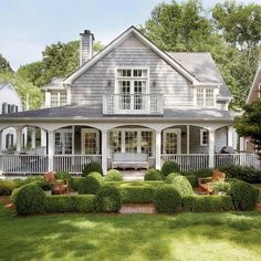 On the Cottage Charm Beautiful Southern Home. Wrap around porch.Beautiful Southern Home. Wrap around porch. Style At Home, Cape Cod Style House, Atlanta Homes, Southern Homes, Southern Cottage, Southern Charm, Southern Front Porches, Southern House Plans, Country Charm