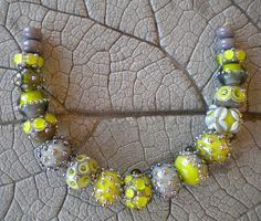 Lime Green Gray Lampwork Beads by Cherie Sra R114 Flameworked