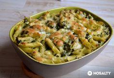 Juhtúrós-spenótos penne csirkével Penne, Mozzarella, Pasta Salad, Potato Salad, Macaroni And Cheese, Potatoes, Meat, Chicken, Cooking