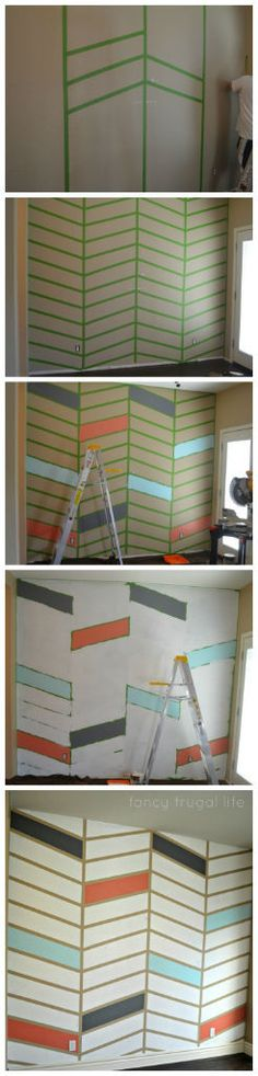 How to paint a herringbone pattern wall - wondering if I have the patience for this in my new office.  LOVE the idea.