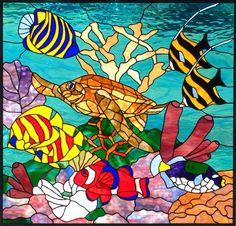 """Sea of Joy"" by Barbara Gustafson. Turtle and fish."