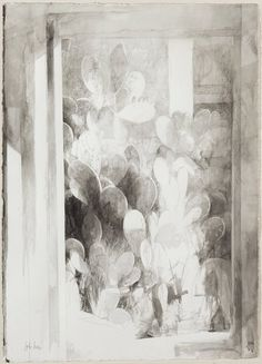 """Pedro Cano (Spanish, b, 1944), Prickly pears, 2004-05. Watercolour on paper, 104 x 74.5 cm. """