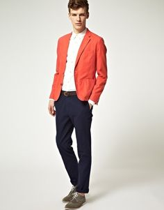 Cotton Suit in Red & Navy // ASOS
