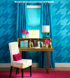 Houndstooth Pattern  Add this pattern to your walls for a statement that is both timeless and trendy. Houndstooth is a classic design, while the oversize scale and bright colors of this application keeps it fresh.