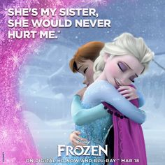"""Disney frozen """" She's my sister she would never hurt me. Frozen Disney, Frozen Movie, Disney Magic, Frozen Party, Disney Movie Rewards, Best Disney Movies, Good Movies, Disney Stuff, Love My Sister"""