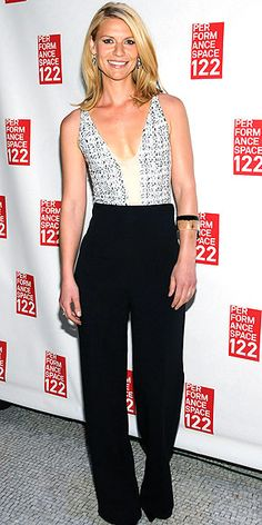 #plunge #jumpsuit CLAIRE DANES   in a Narciso Rodriguez jumpsuit with a gray confetti-patterened bodice at the Performance Space 122 Gala in N.Y.C.