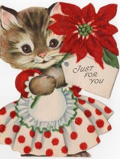 Polka Dot Flocked Apron Kitty Cat Lady Girl Dress VTG Christmas Greeting Card
