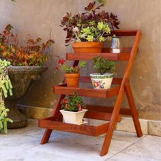 Wood Outdoor Three-Layer Plant Stand with Teak Finish | Overstock.com Shopping - The Best Deals on Planters, Hangers & Stands
