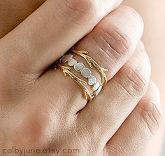 Silver Pebble and Gold Twigs Ring Set  by ColbyJuneJewelry on Etsy, $190.00